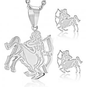 Set din oțel, culoare argintie, cercei și pandantiv, semn zodiacal SĂGETĂTOR