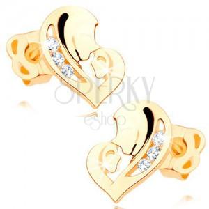 Cercei cu diamante, din aur galben de 14K - inimă compusă din două fețe, diamante transparente