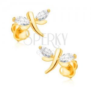 Cercei din aur galben de 14K - libelulă, diamante bobițe pe aripi