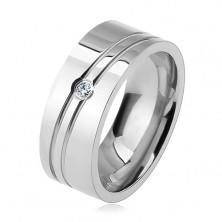 Inel din oțel chirurgical, două crestături oblice, zirconiu transparent