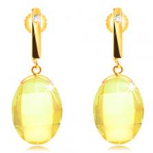 Cercei din aur galben de 14K - tijă îngustă cu zirconiu, oval galben, șlefuit