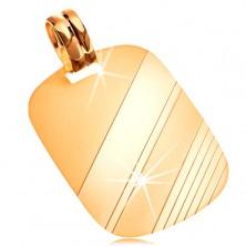 Pandantiv din aur galben de 14K - plăcuță dreptunghiulară cu benzi lucioase, mate