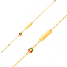 Brățară din aur 375 - lanț, plăcuță lucioasă, cireșe smălțuite
