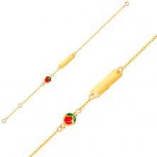 Brățară din aur galben 9K - plăcuță, măr smălțuit, lanț