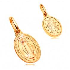 Pandantiv din aur galben  de 14K - plăcuță ovală cu simbol Fecioara Maria