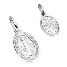 Pandantiv din aur alb de 14K - plăcuță ovală cu simbol Fecioara Maria