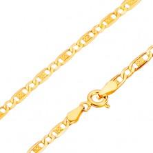 Lanț din aur galben de 14K- zale ovale, gaură și crestături, 500 mm
