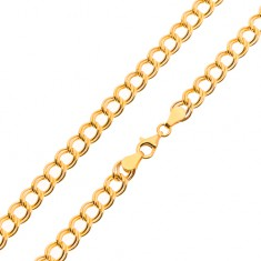 Lanț din aur galben de 14K - zale duble, eliptice, 500 mm