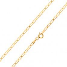 Lanț din aur - zale subțiri plate, raze canelate strălucitoare, 550 mm