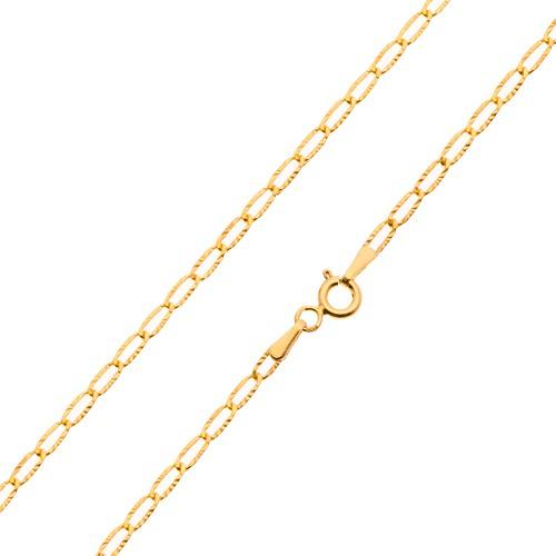 Bijuterii eshop - Lanț din aur - zale subțiri plate, raze canelate strălucitoare, 550 mm GG23.33