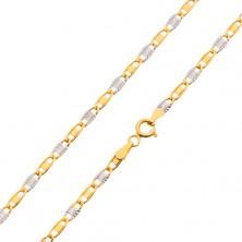 Lanț din aur alb și galben de 14K, zale netede și radiale, 500 mm