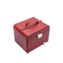 Cutie portabilă pentru bijuterii de culoare bordo, detalii metalice argintii