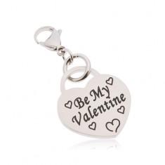 """Breloc, oțel chirurgical, inimă cu inscripția """" Be My Valentine"""""""