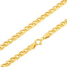 Lanț din aur 585 -zale mici și mari, eliptice și lucioase, 500 mm