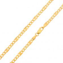 Lanț din aur - trei ochiuri ovale, za cu cheie grecească, 500 mm