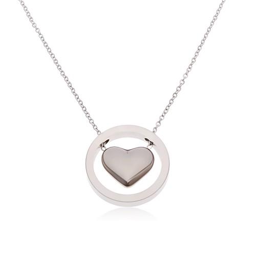 Bijuterii eshop - Colier argintiu din oțel chirurgical, inimă proeminentă în cerc Z47.10