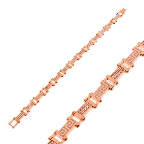Bijuterii eshop - Brățară din oțel, culoare arămie cu zirconii transparente și cheie grecească Z48.19