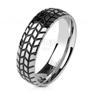 Inel argintiu din oțel, model anvelopă structurată, 6 mm