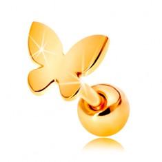 Piercing pentru ureche din aur 585 - fluture mic, plat cu suprafață lucioasă