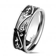 Inel argintiu din oțel chirurgical, bandă neagră decorată cu ornamente, 7 mm