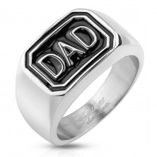 Inel argintiu din oțel 316L, dreptunghi negru cu inscripția DAD