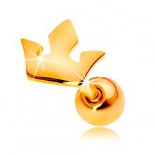 Piercing pentru ureche din aur galben de 14K - coroană mică cu trei vârfuri