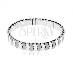 Brățară argintie din oțel, flexibilă, zale lucioase și mate