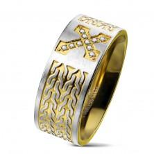 Inel din oțel chirurgical, cruce cu zirconii, model lanț, 9 mm
