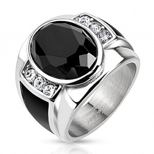 Inel din oțel cu oval negru, șlefuit, zirconii transparente și benzi neagre