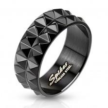 Inel negru din oțel chirurgical, cu suprafață șlefuită, 8 mm