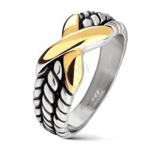 Inel argintiu din oțel, crestături pe brațe, X  auriu