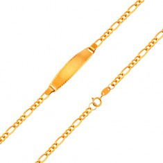 Brățară din aur de 18K cu placă mată - lanț cu model Figaro, 155 mm