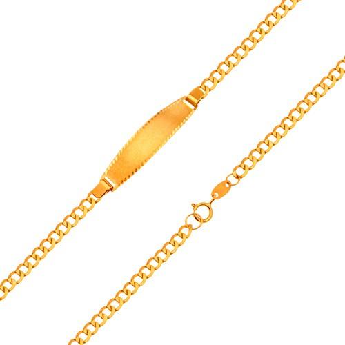 Bijuterii eshop - Brățară cu placă mată, din aur de 18K - lanț cu zale ovale, 160 mm GG204.25