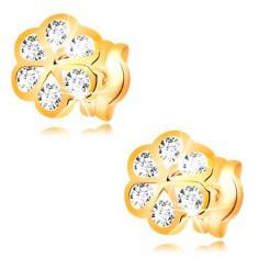 Cercei din aur galben de 14K - floare cu contururi netede și zirconii transparente