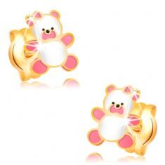 Cercei din aur 585, ursuleț cu smalț roz și alb, șuruburi