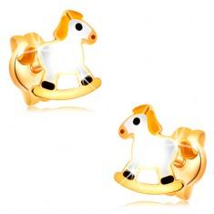 Cercei cu șuruburi din aur galben de 14K - cal balansator, alb cu coamă galbenă