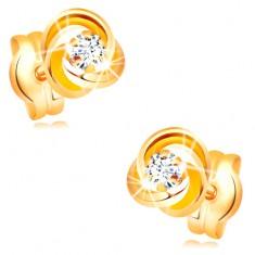 Cercei din aur galben 585 - nod compus din trei cercuri, zirconiu transparent în mijloc
