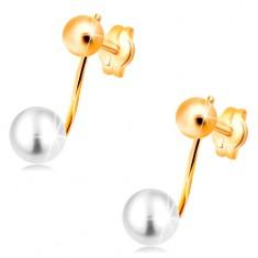 Cercei din aur galben de 14K - bilă lucioasă și perlă albă pe tijă