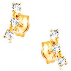 Cercei din aur galben de 14K- arc compus din zirconii transparente și bile lucioase
