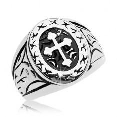 Inel argintiu, oțel chirurgical, oval mare cu cruce în trifoi
