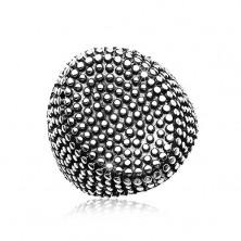 Inel din oțel, oval mare decorat cu puncte mici, proeminente, patină neagră