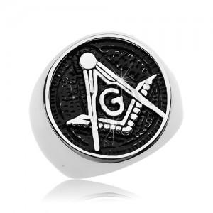 Inel din oțel chirurgical, simbol al Francmasonilor în cerc patinat