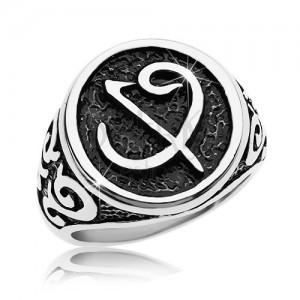 Inel din oțel chiurgical - sigiliu negru cu simbol, ornamente pe brațe