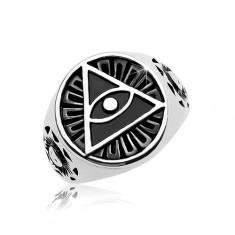 Inel din oțel 316L, cerc negru, patinat și triunghi cu ochi