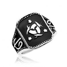 Inel din oțel, dreptunghi negru cu nod Celtic și trei stele