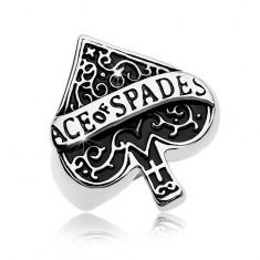 Inel masiv din oțel 316L, simbol patinat, as de pică, inscripție