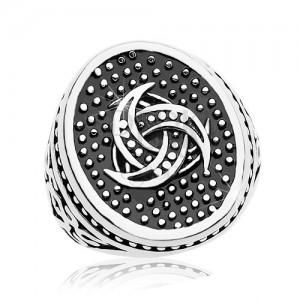 Inel din oțel, oval punctat cu motiv Celtic, ornamente pe brațe