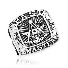 Inel din oțel chirurgical, simbolul Francmasonilor și inscripție, patină neagră