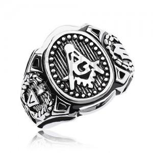 Inel din oțel chirurgical, oval mare și simbolul Francmasonilor