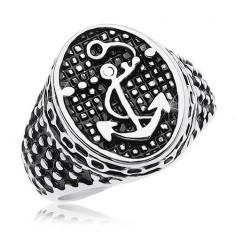 Inel din oțel de 316L, oval patinat cu ancoră și puncte mici